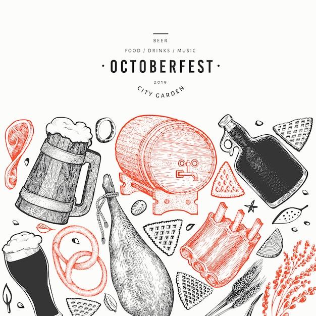 Oktoberfest-banner. hand gezeichnete illustrationen. Premium Vektoren