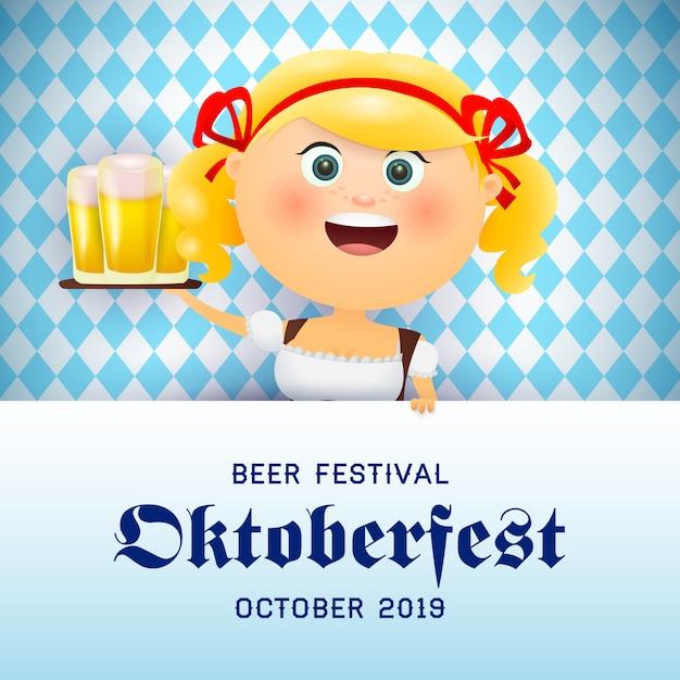 Oktoberfest banner mit fröhlichen kellnerin bier tragen Kostenlosen Vektoren