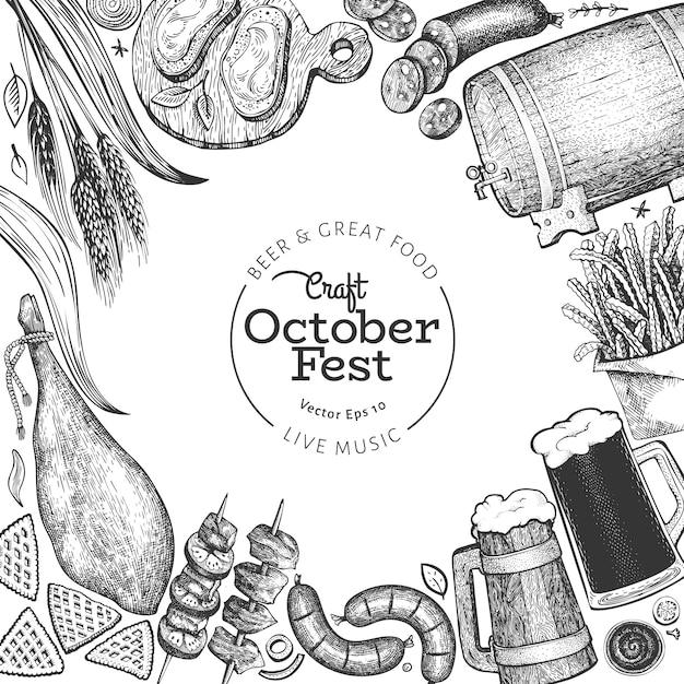 Oktoberfest banner. vektor hand gezeichnete illustrationen. grußbierfestival-entwurfsschablone im retro-stil. herbsthintergrund. Premium Vektoren