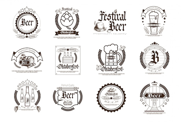 Oktoberfest bier festival badge set Premium Vektoren