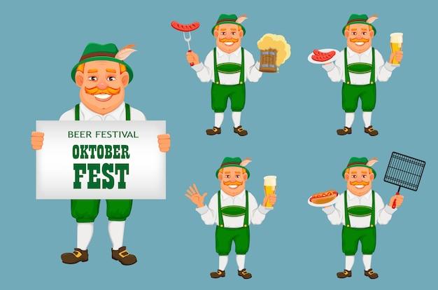 Oktoberfest, bierfest. fröhlicher mann Premium Vektoren