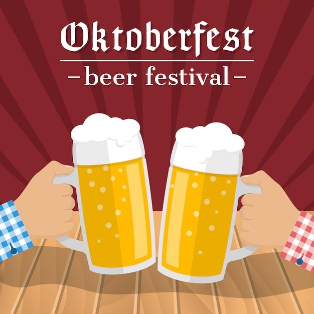 Oktoberfest bierfest. zwei gläser bier in händen von männern, die sich berühren Premium Vektoren