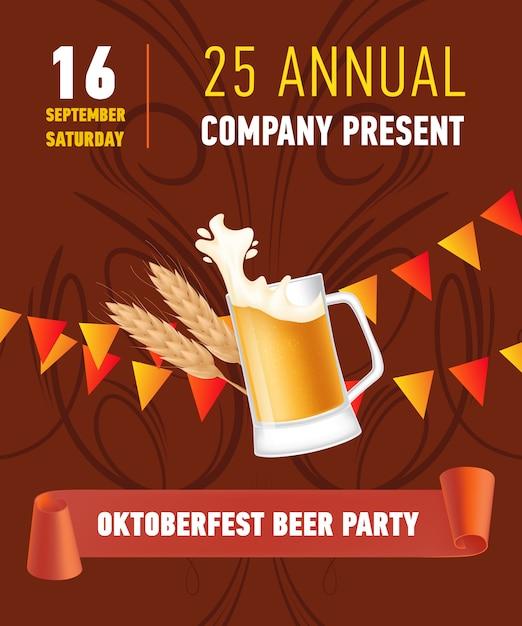 Oktoberfest bierparty, firmengeschenk schriftzug mit bierkrug Kostenlosen Vektoren