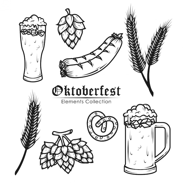 Oktoberfest elements-auflistung Premium Vektoren