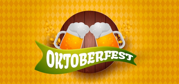 Oktoberfest-fahnenillustration mit bier Premium Vektoren