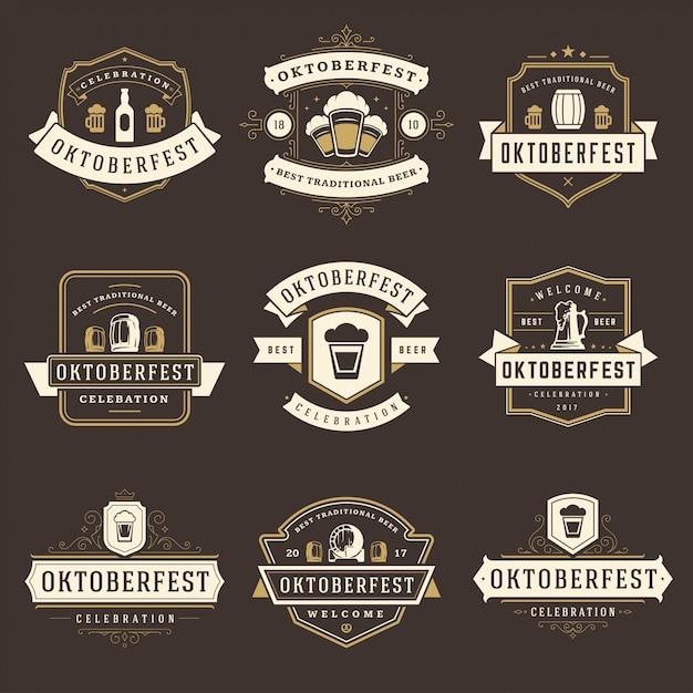 Oktoberfest feier bier festival etiketten, abzeichen und logos festgelegt Premium Vektoren
