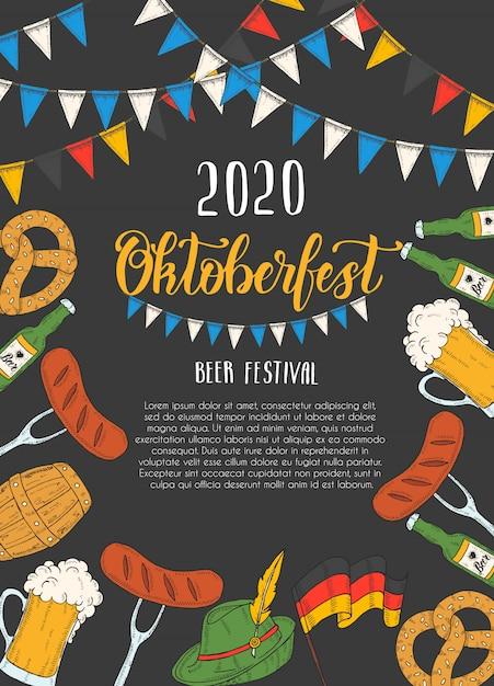 Oktoberfest-feierplakat Premium Vektoren