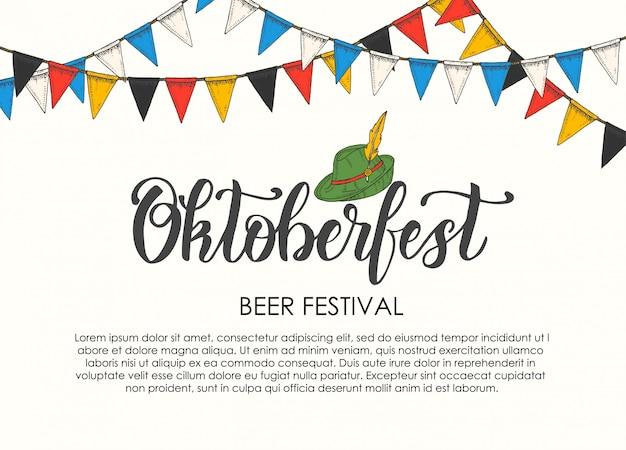 Oktoberfest-festplakat mit handgemachtem schriftzug und flaggengirlande. Premium Vektoren
