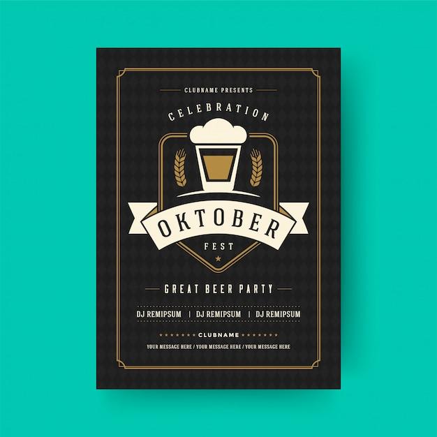 Oktoberfest flyer oder plakat retro typografie vorlage design einladung bier festival feier Premium Vektoren