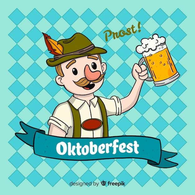 Oktoberfest-hintergrund mit dem mannfeiern Kostenlosen Vektoren