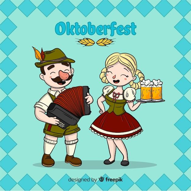 Oktoberfest-hintergrund mit dem paarfeiern Kostenlosen Vektoren