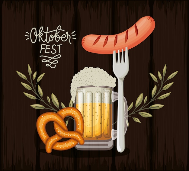 Oktoberfest hintergrund mit essen Premium Vektoren