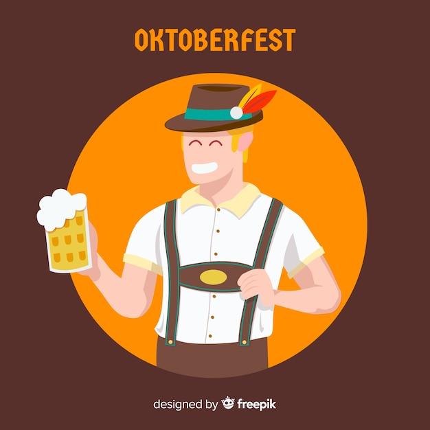 Oktoberfest-hintergrund mit jungem mann Kostenlosen Vektoren