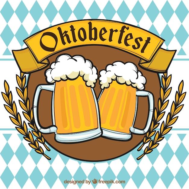 Oktoberfest, insignien mit bieren Kostenlosen Vektoren