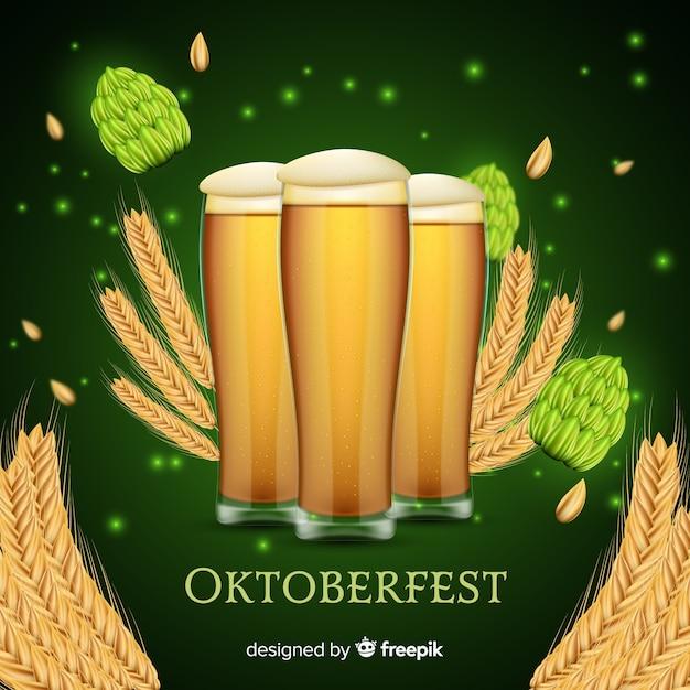 Oktoberfest-konzept mit realistischem hintergrund Kostenlosen Vektoren