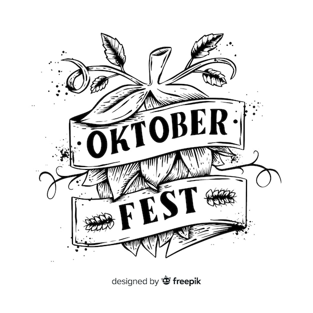 Oktoberfest-konzept mit schriftzug hintergrund Kostenlosen Vektoren