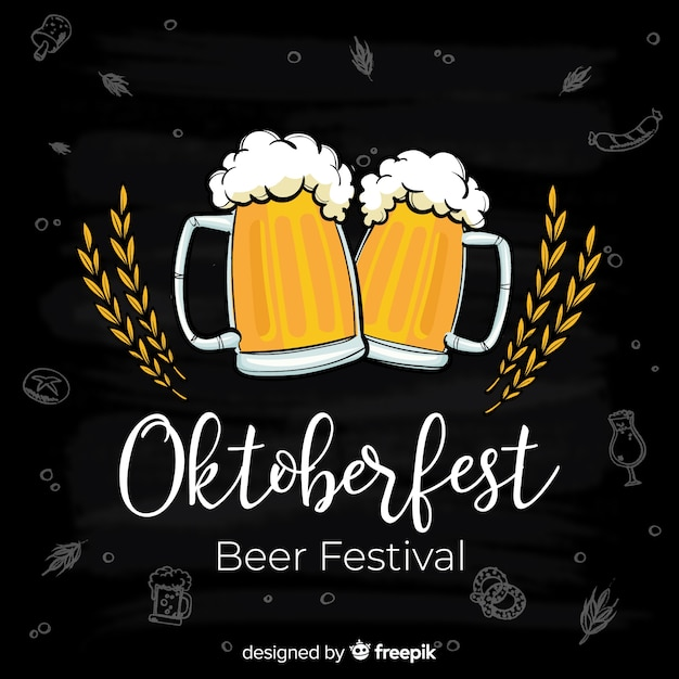 Oktoberfest-konzepthintergrund mit gläsern bier Kostenlosen Vektoren