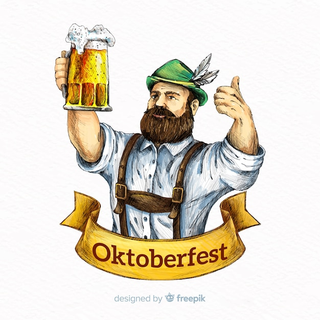 Oktoberfest-konzepthintergrund mit hand gezeichnetem tirol Kostenlosen Vektoren