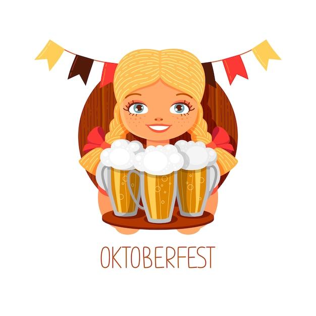 Oktoberfest mädchen mit bier. lächelnde blonde kellnerin mit gläsern. deutsches nationales festival in der hand gezeichnete flache art. vektor-cartoon-illustration Premium Vektoren