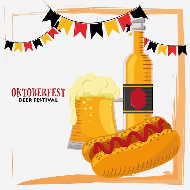 Oktoberfest mit bier und hot dog Premium Vektoren