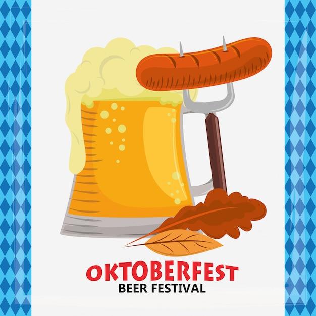 Oktoberfest mit bier und würstchen Premium Vektoren