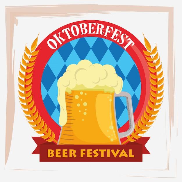 Oktoberfest mit bierkrügen Premium Vektoren