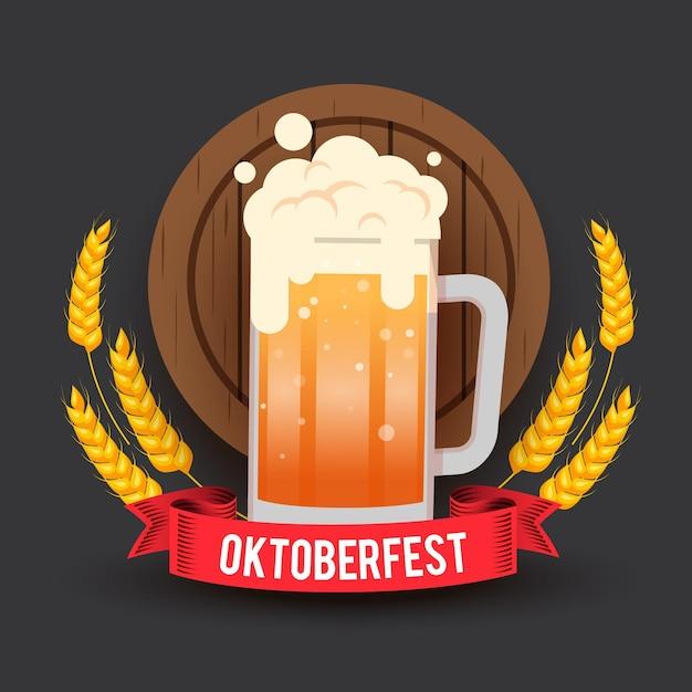 Oktoberfest mit einem halben liter bier Kostenlosen Vektoren