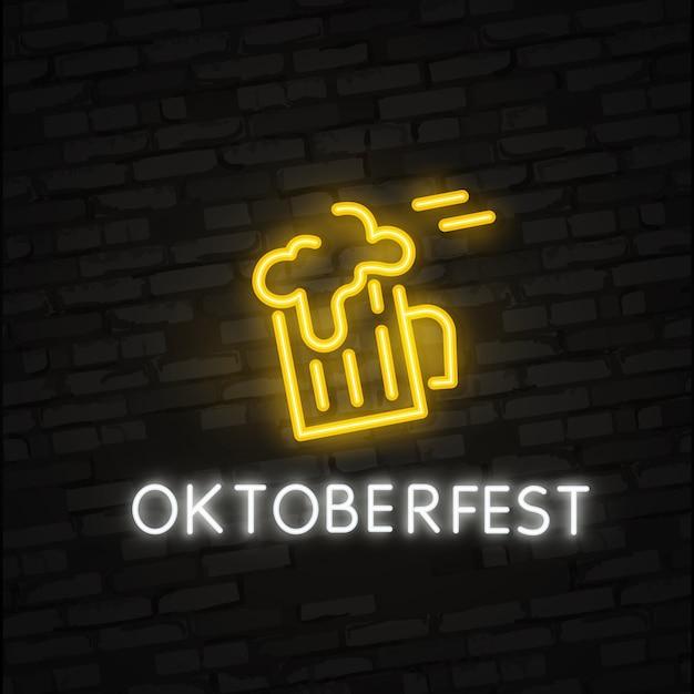Oktoberfest-neon-effekt Premium Vektoren