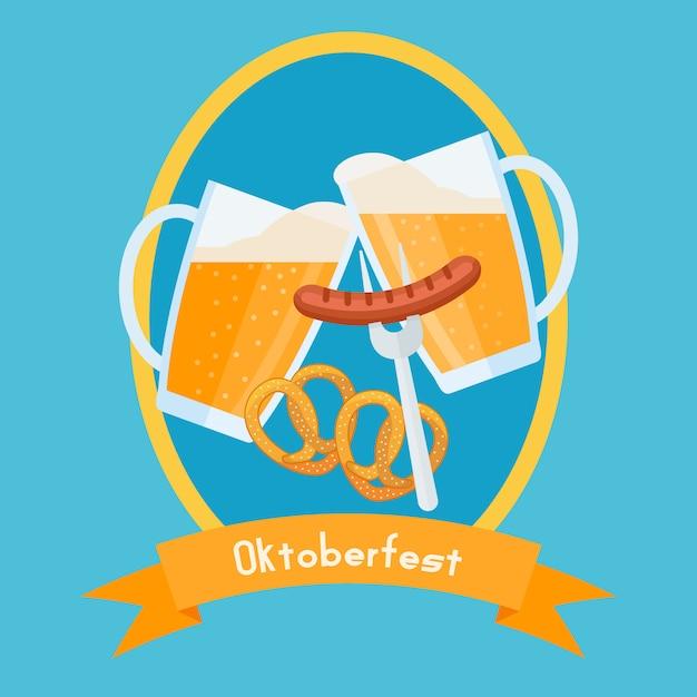 Oktoberfest poster design vorlage. klirrende biergläser mit schaum, brezeln und wurst. Premium Vektoren