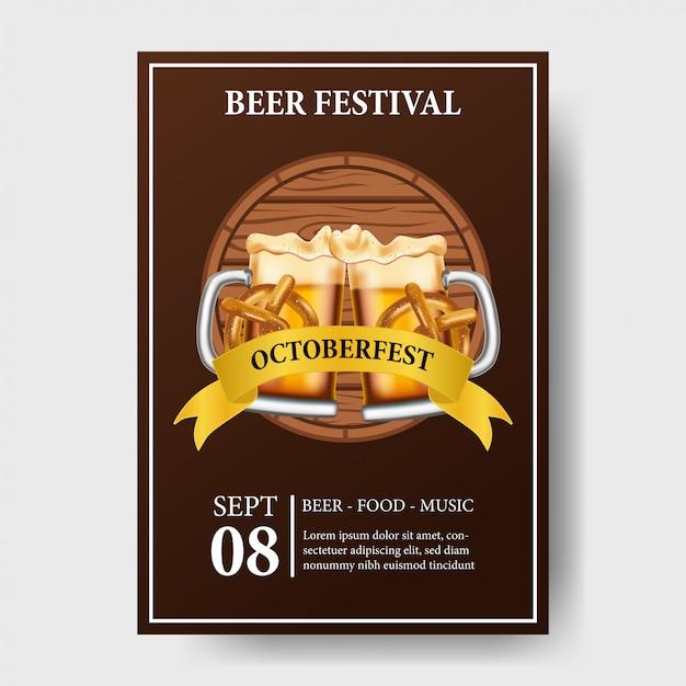 Oktoberfest-poster mit bierglas und flasche Premium Vektoren