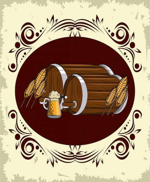 Oktoberfest runden emblem Premium Vektoren