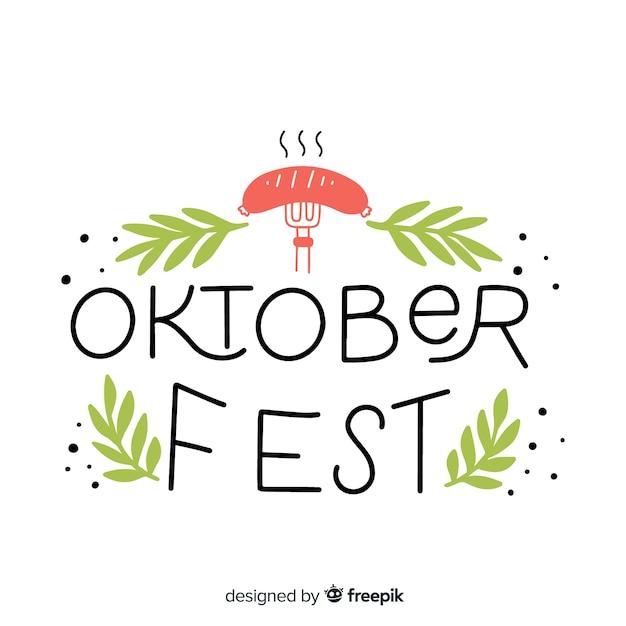 Oktoberfest schriftzug hintergrund mit elementen Kostenlosen Vektoren