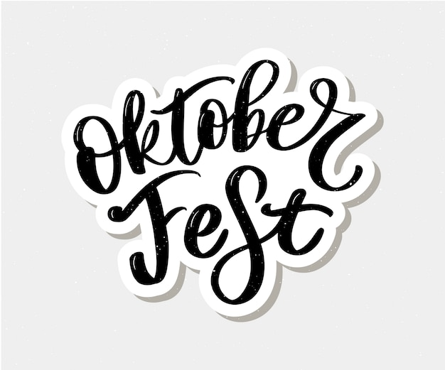 Oktoberfest-schwarzweiss-beschriftung Premium Vektoren