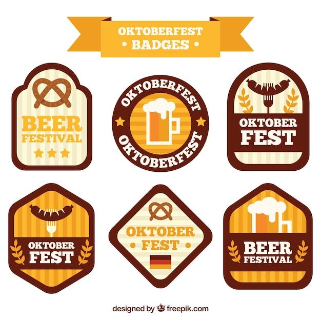 Oktoberfest, sechs flache abzeichen Kostenlosen Vektoren