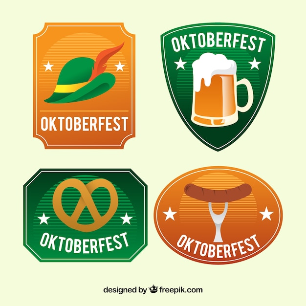 Oktoberfest, vier abzeichen Kostenlosen Vektoren