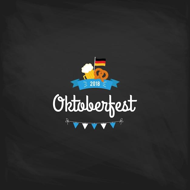 Oktoberfest-weinleseplakat oder -grußkarte auf einem tafelhintergrund Premium Vektoren