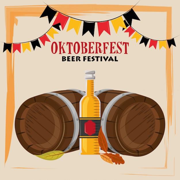 Oktoberfestfeier mit bierfässern Premium Vektoren