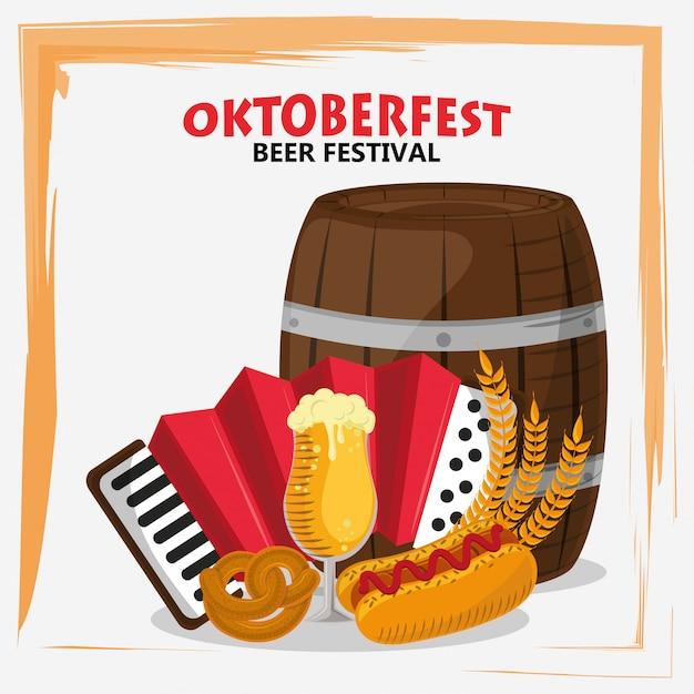 Oktoberfestfeier mit bierfass und akkordeon Premium Vektoren