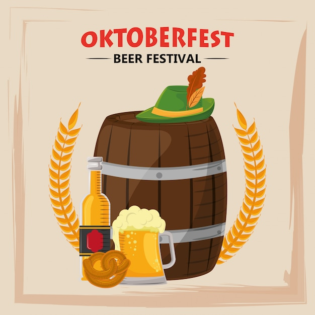 Oktoberfestfeier mit bierfass und hut Premium Vektoren