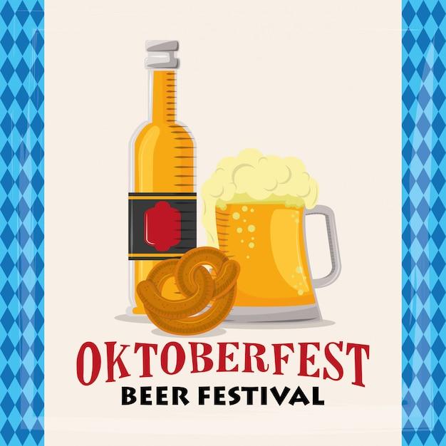 Oktoberfestfeier mit bierflaschen Premium Vektoren