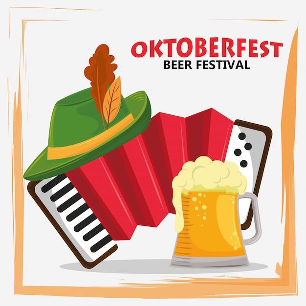 Oktoberfestfeier mit bierglas und akkordeon Premium Vektoren