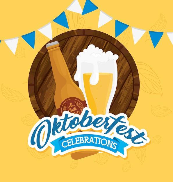 Oktoberfestfestfeier mit flasche und glas des handwerklichen biervektorillustrationsentwurfs Premium Vektoren