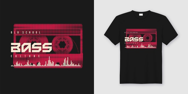 Old school bass t-shirt und kleidung trendy mit gestylter musikkassette, druck. Premium Vektoren
