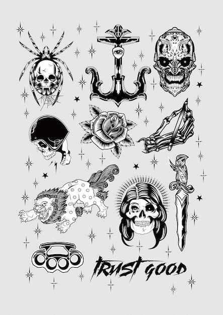 Old school tattoo design set vintage poster drucken Premium Vektoren