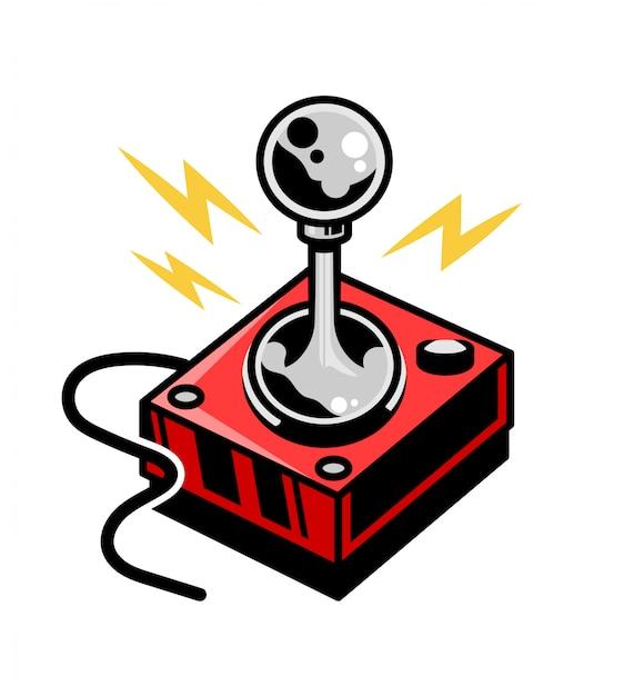 Old school vintage joystick für retro-videospiel-spielhalle spielen. Premium Vektoren