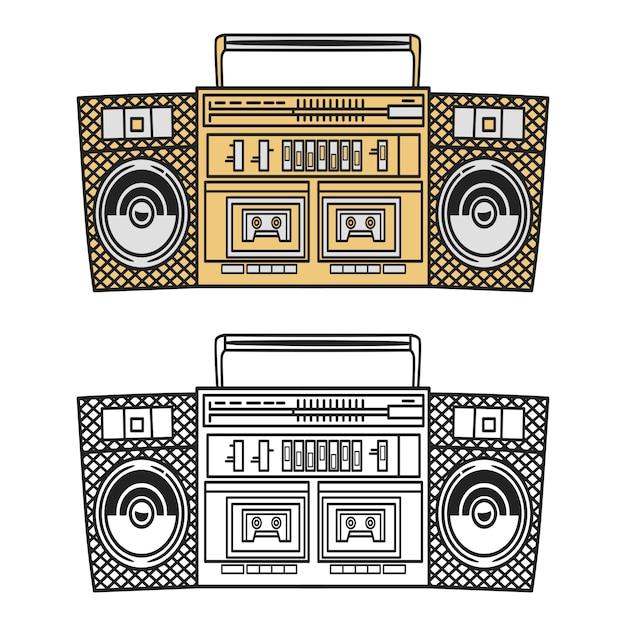Old style music boombox illustration Premium Vektoren