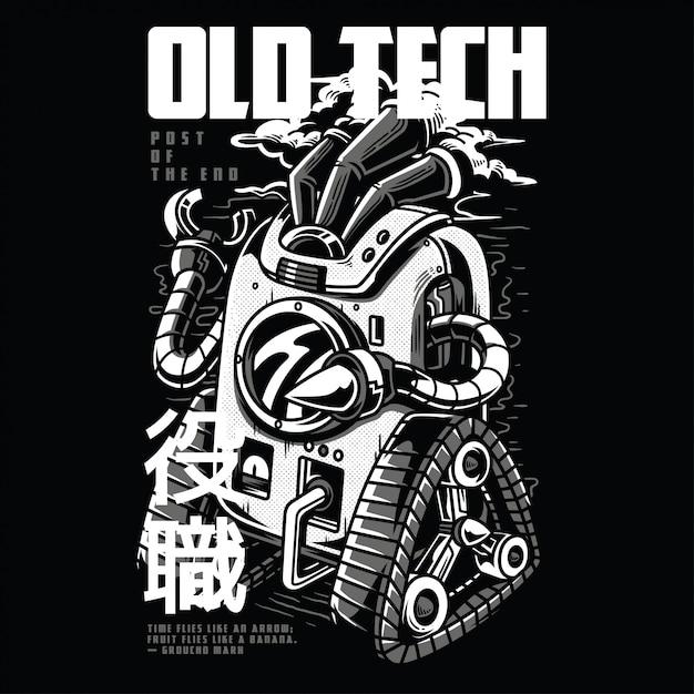 Old tech schwarzweiss Premium Vektoren