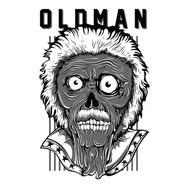 Oldman-patriot-schwarzweißabbildung Premium Vektoren