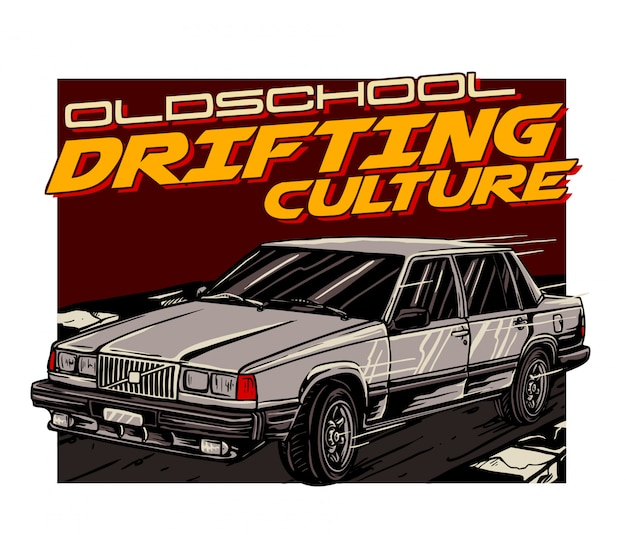 Oldschool auto treiben Premium Vektoren