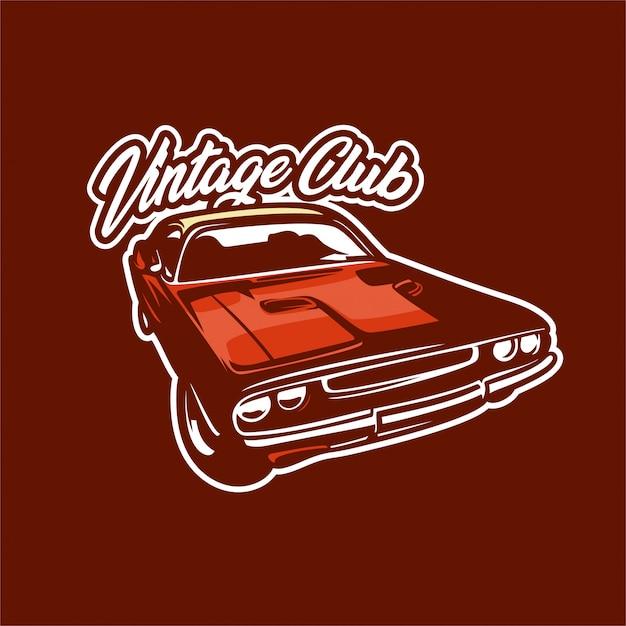 Oldtimer-club-logo-illustration Premium Vektoren